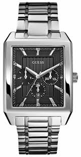 guess mens square faced silver tone watch w0077g1 guess w0077g1