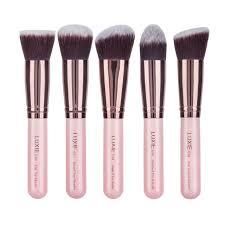 flat top kabuki brush for liquid foundation. luxie rose gold synthetic 5 piece kabuki brush set flat top for liquid foundation