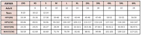B Swim Size Chart Size Guide Awwa Period Proof Underwear