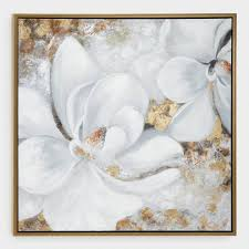 botanical white gold fl canvas wall art