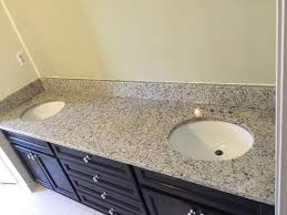 branco dallas white granite countertops for bathroom vanity top with double undermount sinks oval shape 2210 beautiful color contrast with the dark