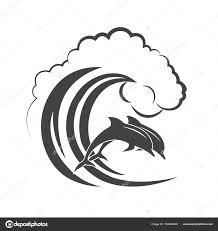 波モノクロのアイコンで跳ねているイルカのパック ストックベクター