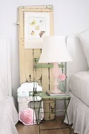 Bedrooms:Shabby Chic Bedroom With White Bed And Vintage Bedside Table Feat  Cone Table Lamp