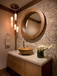 contemporary powder room with calacatta gold polished marble pendant light 890 bamboo vessel bathroom