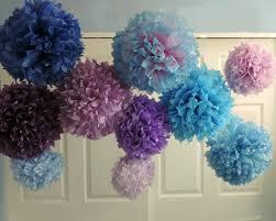 Pom Pom Decorations 10 Purple Blue Pompoms Tissue Paper Pom Poms Purple Blue Wedding