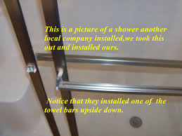 these sliding shower doors also was not adjusted to fit the shower walls the installer