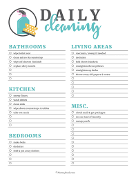 cleaning schedule printable printable cleaning checklists for daily weekly and monthly cleaning
