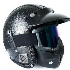 details about us xl size black harley motorcycle helmet vintage leather handmade face mask dot