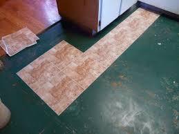 beginning to place vinyl tiles