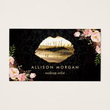 new version gold lips makeup artist fl business card