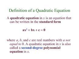 definition of a quadratic equation