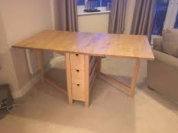 ... dining room table, IKEA Norden Table Drop Leaf Extendable Solid Wood  With Drawers Folding Birch ...