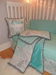 silver aqua damask baby bedding set nursery set modern set