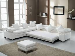 white living room with modern bonded leather sleeper sofas  snet