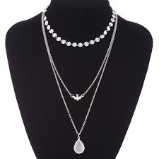 women peace pigeon water drop pendant necklace multi layer chain choker jewelry 1498532952 3789