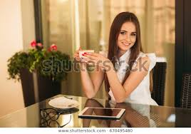 Use Tablet As Phone Young Girl Use Tablet Phone Work Stock Photo Edit Now