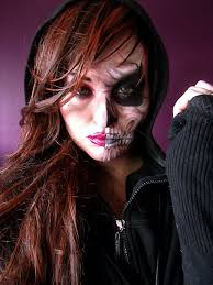 half skull grim r make up skull skull makeup grim reaper makeup