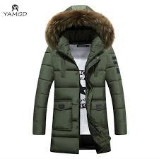 whole men s winter jacket 2017 men high grade fashion business pure color long coat thickening long warm fur collar hooded windbreaker