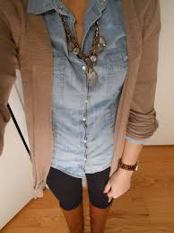 Denim shirt under <b>cardigan</b> with a statement necklace | Fashion ...