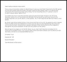 Letter Of Recommendation For Laid Off Employee Math Teacher Recommendation Letter Example Letter Samples