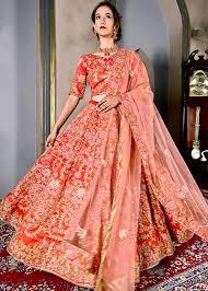 Bridal Lehenga Choli Designs With Price Coral Red Embroidered Bridal Lehenga Choli