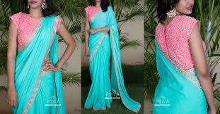 Simple Saree With Heavy Designer Blouse Simple Plain Saree With Gold Silver Border With Contrast