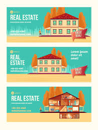 New House Download New House Purchasing Cartoon Ad Banner Set With Cottage Facade And