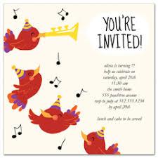 Birthday Party Invitations Bird Singing Trumpet Skid Trend Word
