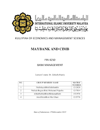 Financial Analysis On Maybank And Cimb Bank Management