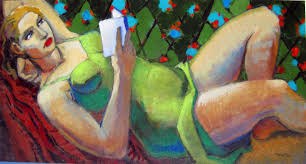 reclining woman reading figurative painting female figuration contemporary figure painter