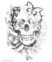 You can choose roses, bouquets, geometric roses, and other patterns and motifs. Skull Roses And Butterflies Coloring Page Coloring Pages Printable Com