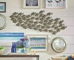 >metal fish wall art ebay large wall art 53 nautical seaside decor school of fish bronze sculpture metal