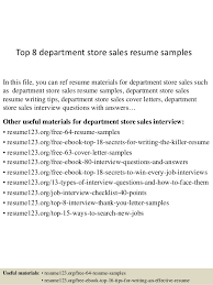 Top   department store sales resume samples SlideShare