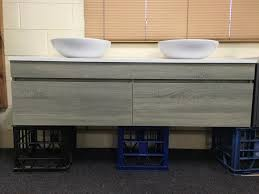 wall mounted bathroom vanity. ASTI-1500mm-Light-Grey-Oak-Timber-Wood-Grain- Wall Mounted Bathroom Vanity