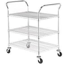 sandusky 3 tier 600 lb capacity nsf chrome wire cart