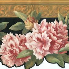 Flower Wall Paper Border York Wallpaper Border White Pink Yellow Floral On Black With Wood