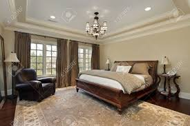 Master Bedroom Ceiling Master Bedroom In Luxury Home With Tray Ceiling Stock Photo