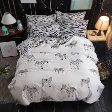 details about zebras print cotton blend white duvet covers sets 3pcs king queen twin bedding
