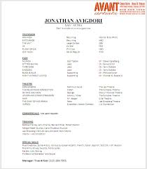 Free Acting Resume Template Free Acting Agency Resume Template Sample Acting Resume With Agent 80