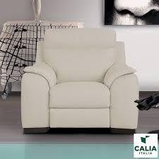 calia italia serena power recliner cream italian leather armchair