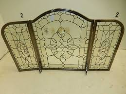 amazing ideas leaded glass fireplace screens beveled clear folding lovely
