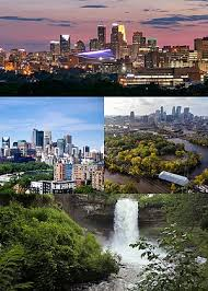 clockwise from top left downtown minneapolis at night the mississippi river minnehaha falls