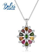 2019 bolaijewelry natural multicolor tourmaline gemstone pendant necklacefine jewelry for anniversary party or daily wear best gift