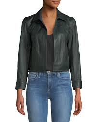 theoryshrunken open front leather jacket