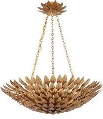 crystorama broche 6 light antique gold leaf pendant chandelier