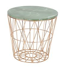 wire base marble top side table