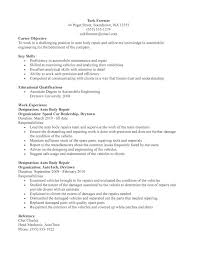 Auto Body Repair Or Automotive Mechanic Resume Template Sample Free  Printable