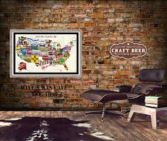 extravagant beer wall art united state craft map poster of brewery uk can cap box coaster
