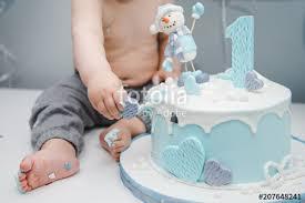 Kids Feet Near The Cake Cute Little Boy Eating His First Birthday