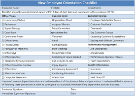 Sample Orientation Checklist For New Employee Printable Checklist Template Sample For New Employee Induction